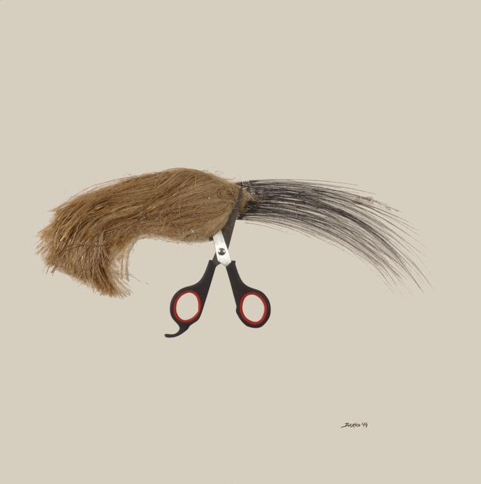 Darko Taleski, Cut, 2014, drawing, mixed media and object (scissors), 45x45 cm