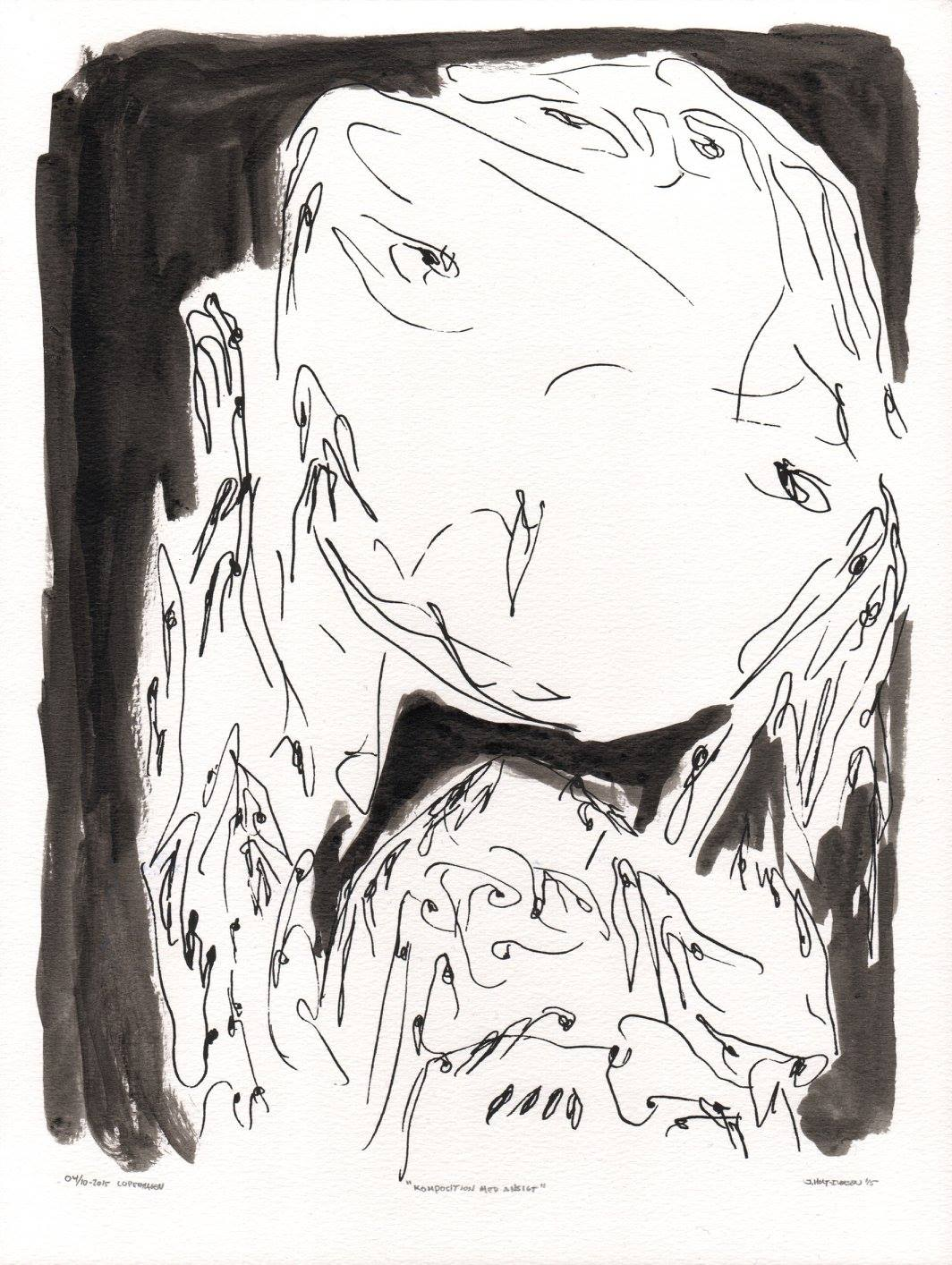 Johannes HOLT-IVERSEN (1989) Denmark Composition With a Face, 2015 Ink on paper, 24 x 32 cm