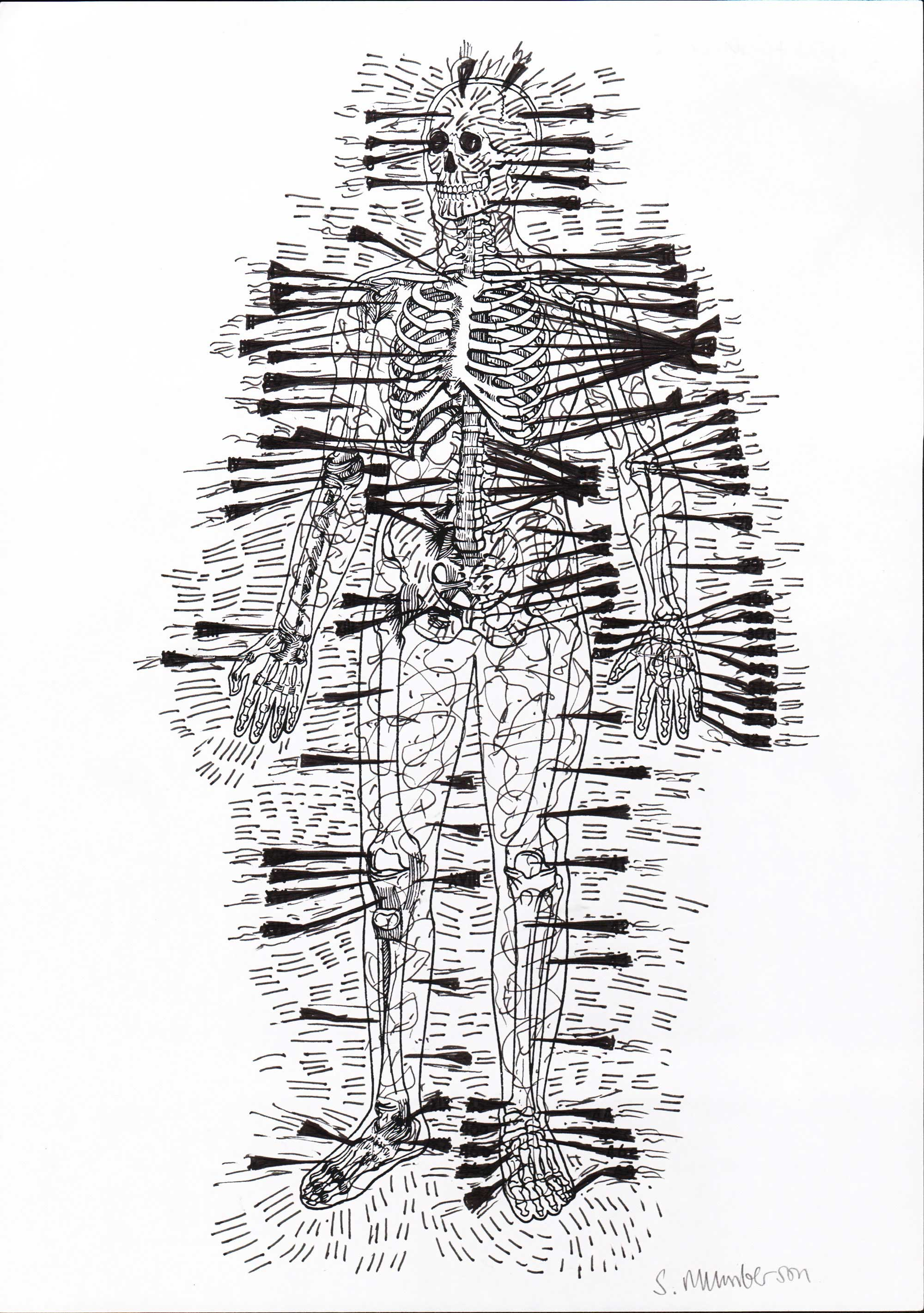 Stephen MUMBERSON (1955) UK, New Human 2, 2015, Pen, 20,5 x 21 cm