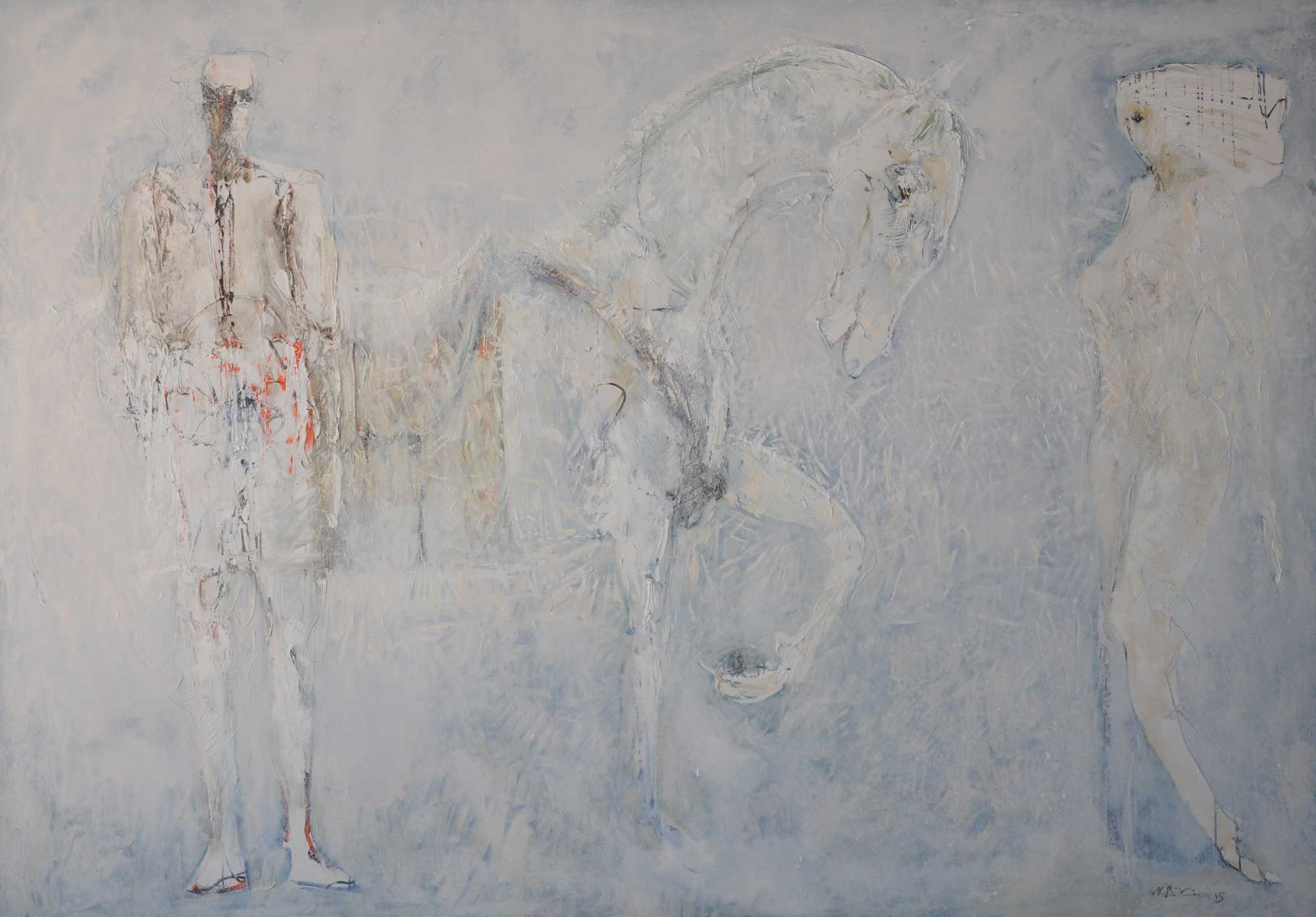 Nevzat Bejtuli KICA, Sudden Meeting, 2015, oil on canvas, 195 x 285 cm