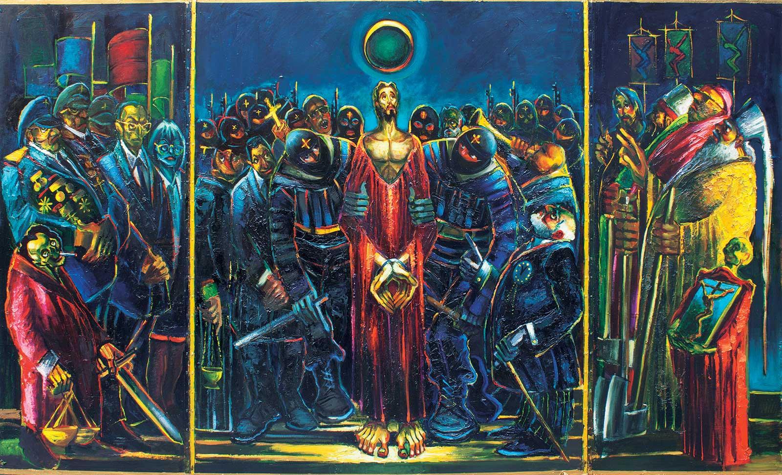 Vadimir GEORGIEVSKI, Triptych, acrylic on panel