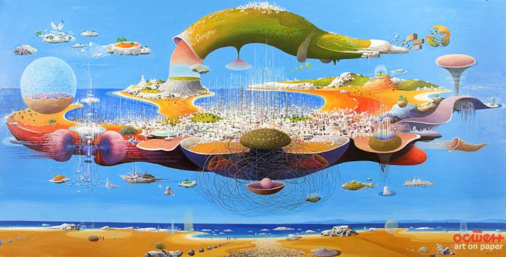 Mediterranean organ - oil on canvas, 170x340cm